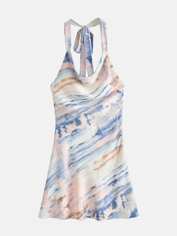 Tie Dye Backless Ruched Mini Dress