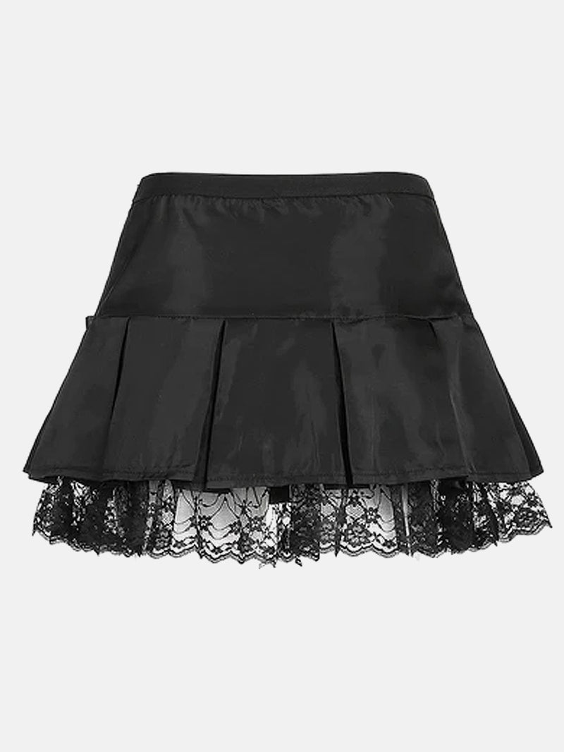 Bow Knot Lace Trim Pleated Skirt