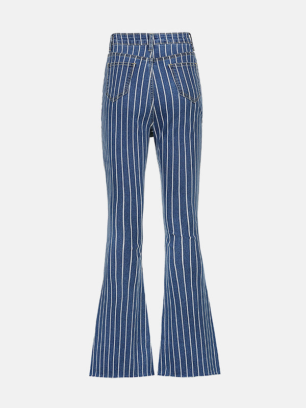 Color Block Striped Bell Jeans