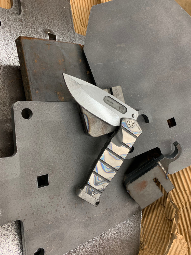Medford USMC Fighter Flipper - S35VN Blade Steel Tumbled Blade Finish Standard Grind Faced/Flamed Handle Tumbled Lock Side Standard Hardware Flamed Clip Tumbled Pommel