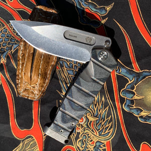Medford USMC Fighter Flipper - S35VN Blade Steel Tumbled Blade Finish Standard Grind Faced/Flamed Handle Tumbled Spring Standard Hardware Flamed Clip Tumbled Pommel