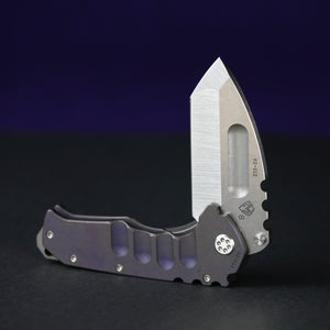 Medford Praetorian Ti S35VN Tumbled Finish Tanto Blade with Violet Anno Handle and Spring Tumbled Clip NP3 Breaker