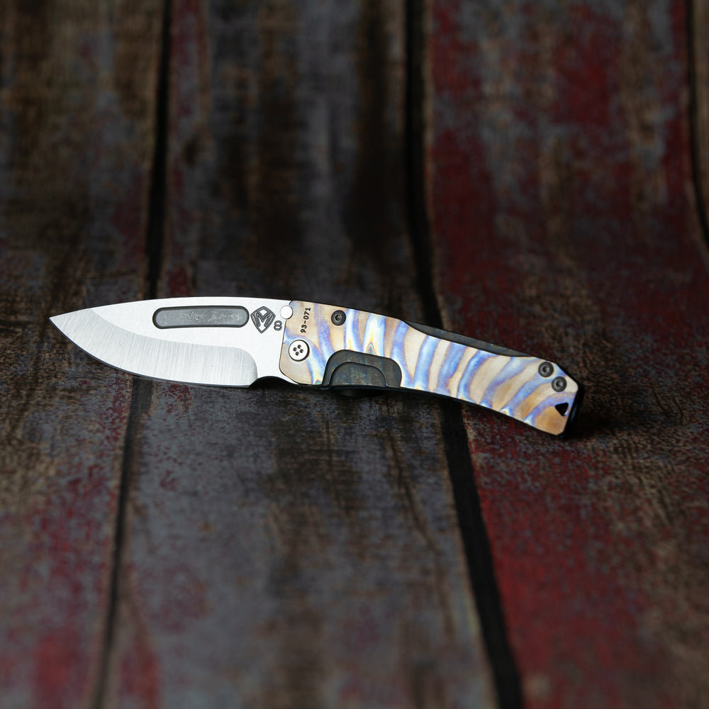 Medford Slim Midi S35VN Blade Steel Tumbled Finish Drop Point Flamed & Faced Handle Ano Blue Spring Standard Hardware Flamed & Faced Clip, N/A Breake