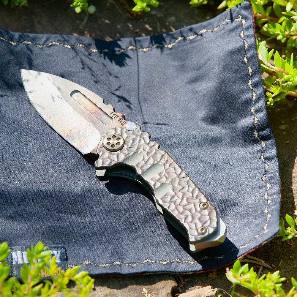 "Medford Micro Praetorian T - TSH KOTW - S35VN Vulcan Drop Point blade ""Cobblestone"" Rose/Copper Patina Titanium handles Bronze Titanium hardware and Brushed Bronze clip"