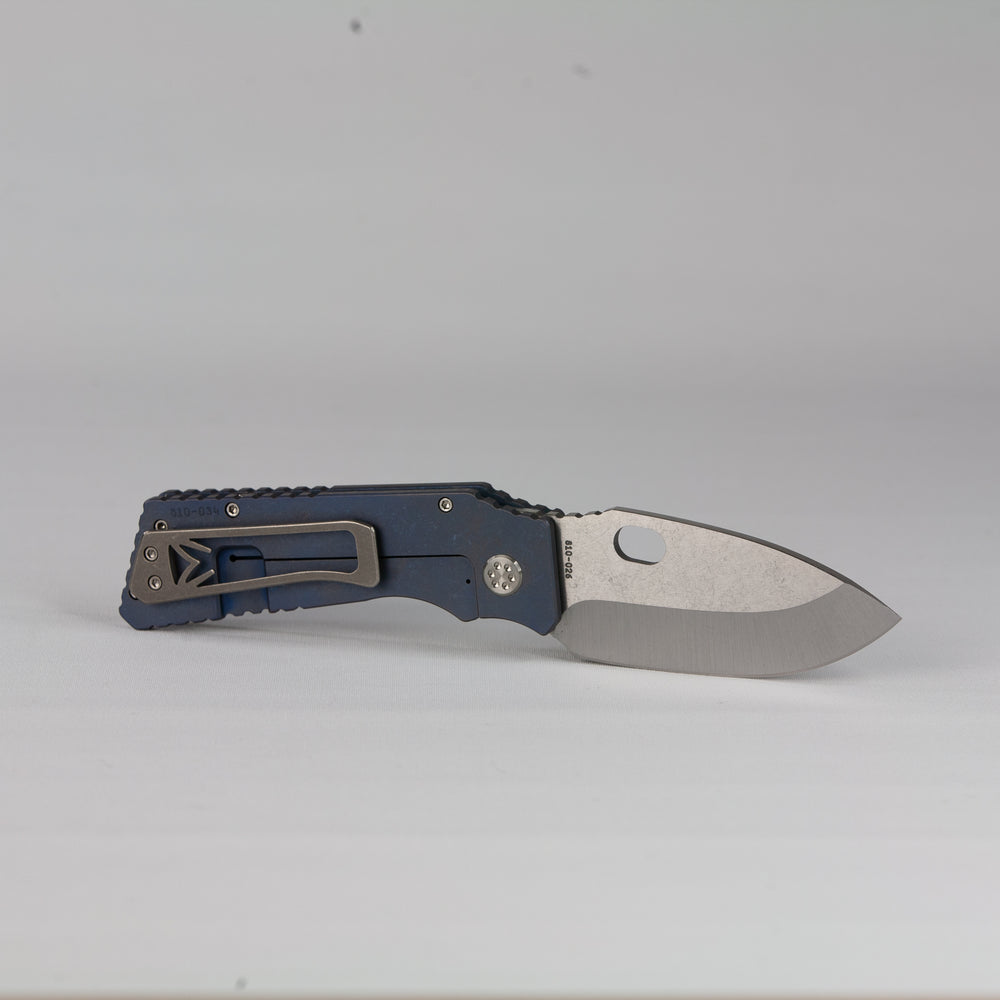 Medford TFF-H S35VN Blade Steel Tumbled Blade Finish Standard Grind ANO Blue Handle ANO Blue Lock Side Standard Hardware Standard Clip