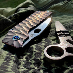 "Medford TFF-1 FD - S35VN Tumbled Blade ""Predator"" Handles Flamed Hardware Brushed/Flamed Clip"