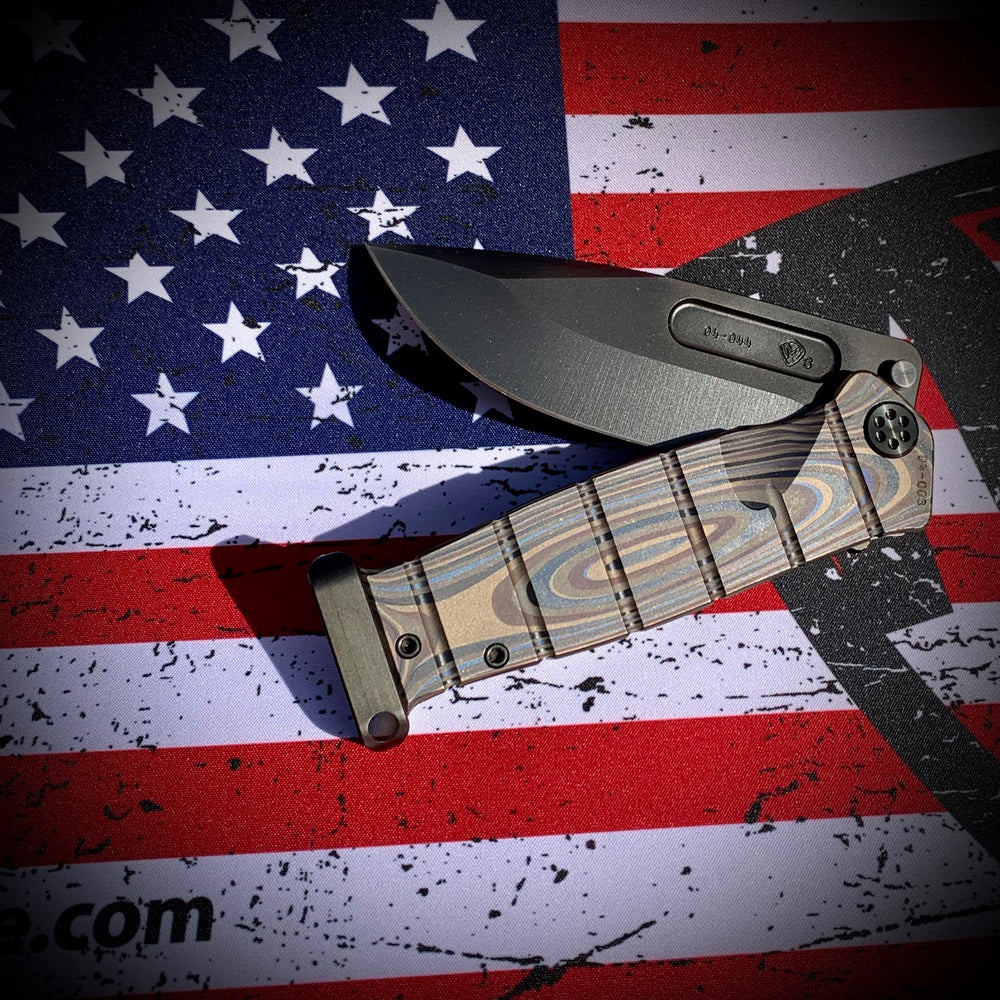 Medford USMC Fighter Flipper - S35VN PVD Blade Steel  Bronze Anodized Multi-Layered G10 Laser Engraved Handles Ti Hardware Clip Pommel
