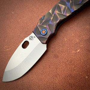 Medford TFF-1 FD - S35VN Blade Steel Tumbled Blade Finish Standard Grind Silver/Bronze/Blue Large Reticulated Sculpted Handles Standard Hardware Flamed and Faced Clip