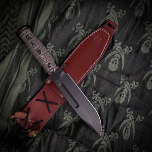 Medford Knife & Tool - USMC Fighter - S35VN PVD Blade Multi-Layered G10 Handle Leather Sheath PVD Hardware