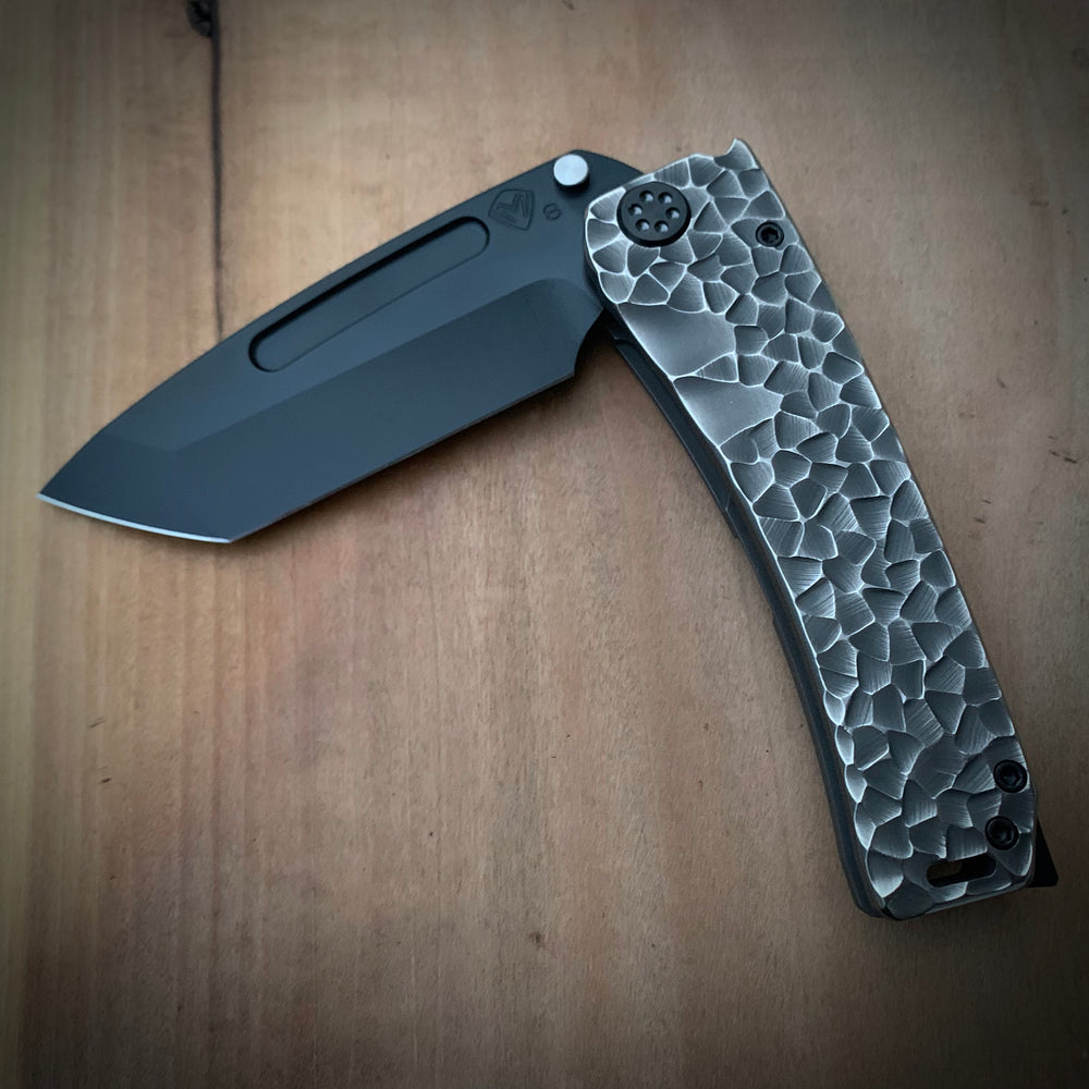 Medford Knife & Tool Marauder - S35VN PVD Tanto Blade Bead Blasted w/Brushed Flats Sculpted Handles PVD Hardware PVD Clip PVD Breaker