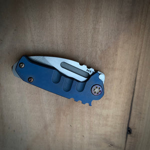 Medford Knife & Tool Micro Praetorian T - S35VN Tumbled Drop Point Blade Bright Ano Blue Handles Flamed Hardware Brushed/Flamed Clip NP3 Breaker