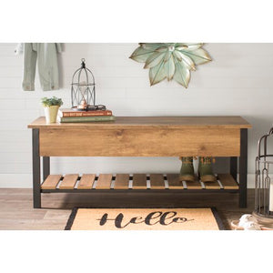 Ochlocknee Open-Top Wood Storage Bench By Three Posts
