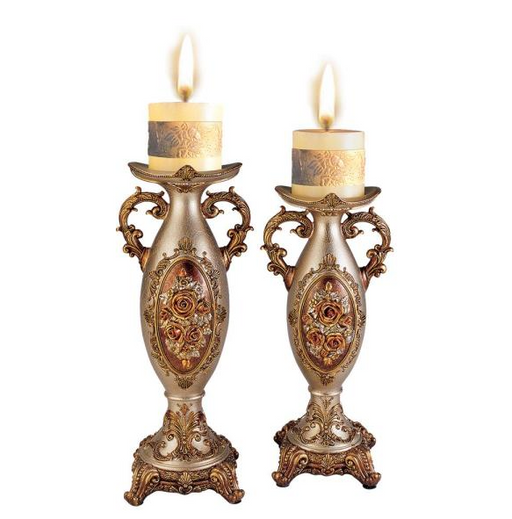 Bronze Rosie Polyresin Candleholders (Set of 2) by OK LIGHTING - Prolific Compass