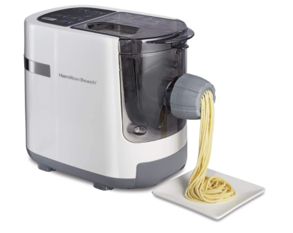 Hamilton Beach Electric Pasta and Noodle Maker, Automatic, 7 Different Shapes, White (86650) - Prolific Compass