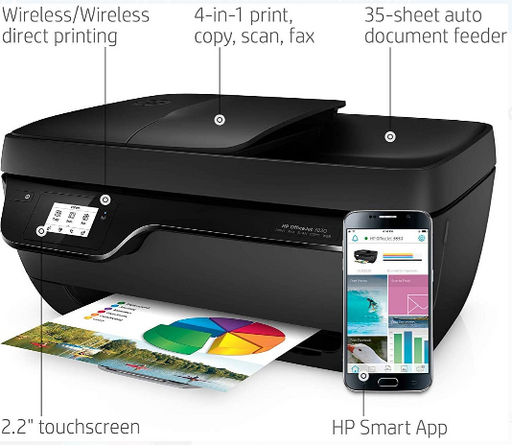 HP OfficeJet 3830 All-in-One Wireless Printer, HP Instant Ink, Works with Alexa (K7V40A) - Prolific Compass