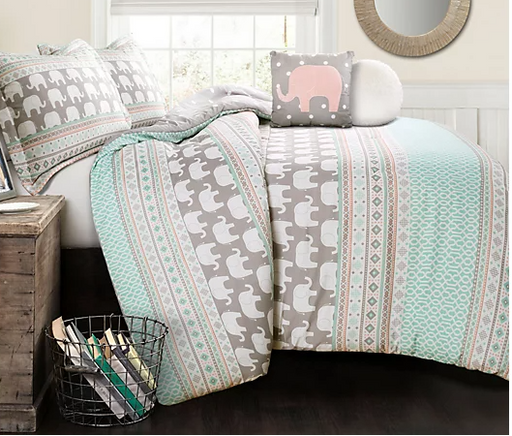 Lush Decor Elephant Stripe 5-Pc. Comforter Set - Full/Queen - Prolific Compass