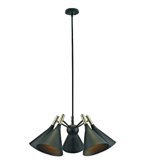Addington Park 31777 Loreto Collection 5-Light Modern Chandelier with Metal Shades, Dark Bronze Finish and Antique Brass Accents - Prolific Compass
