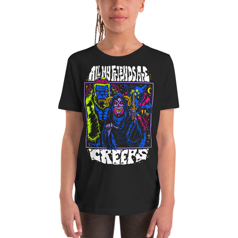 All My Friends Are Creeps Youth Short Sleeve T-Shirt