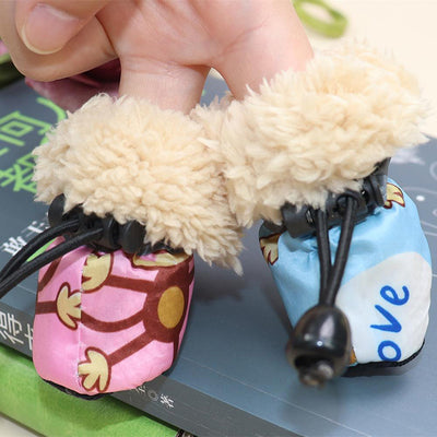 4pcs Waterproof Plush Pet Dog Shoes