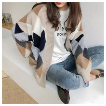 Load image into Gallery viewer, Colorblock Cardigan In Diamond Pattern