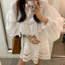 Load image into Gallery viewer, RUGOD Elegant White Lace Dress Women Korean Fashion Hollow Out Ruffle Mini Dress 2019 Summer Casual Lantern Sleeve O Neck Dress