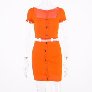Two Piece Set (Cropped Sleeve Button Top + Skirt) in Neon