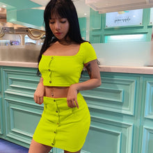 Load image into Gallery viewer, Two Piece Set (Cropped Sleeve Button Top + Skirt) in Neon