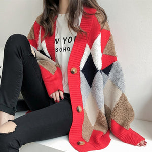 Colorblock Cardigan In Diamond Pattern