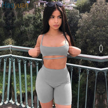 Load image into Gallery viewer, Two Piece Set (Crop Top + Biker Shorts)