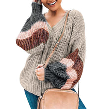 Load image into Gallery viewer, Lantern Sleeve Stripe Colorblock Sweater