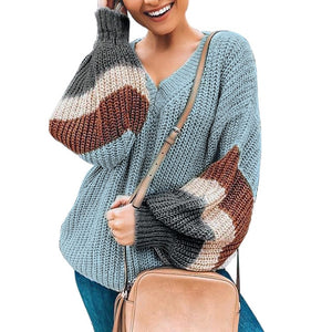 Lantern Sleeve Stripe Colorblock Sweater
