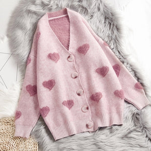 heart detail soft cardigan