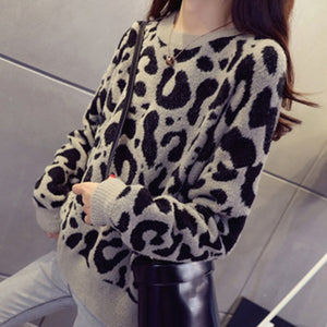 Leopard Print Knitted Sweater