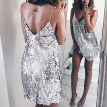 Load image into Gallery viewer, Harper Sequin Silver Dress