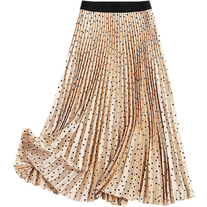 Dot Pleated Midi Skirt