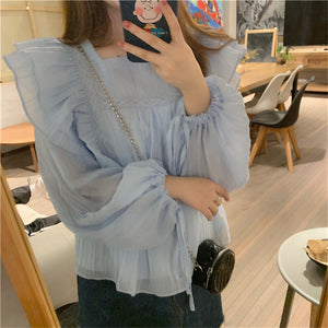 Violets are Blue Ruffle Blouse
