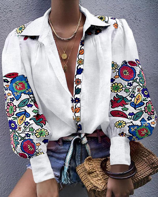 Full Bloom Floral Ethnic Embroidered Blouse