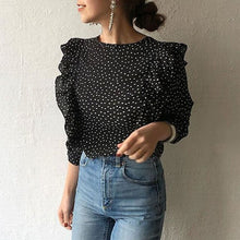 Load image into Gallery viewer, Meet Me in Paris Ruffle Polka Dots Top