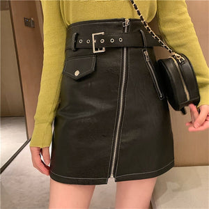 Kitty Zipper Vegan Leather Skirt