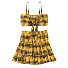 Load image into Gallery viewer, Two Piece Set (Ruched Ruffles Skirt + Bow Crop Top) in Plaid