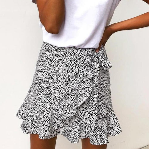 Printed Wrap Mini Skirt - Dots & Animal Print