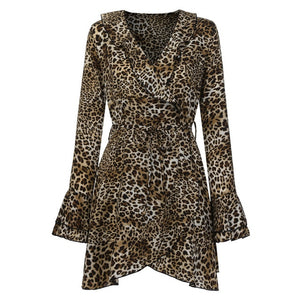 V-Neck Leopard Printed Dress