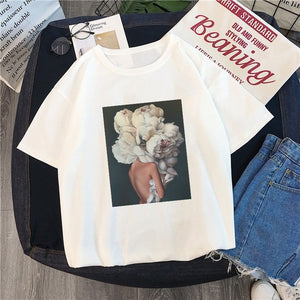 Printed Tee Flower and Feather