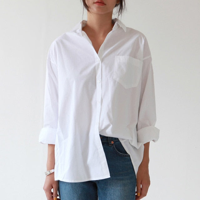 Casual Loose White Button Shirt