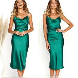 Silk Satin Midi Dress