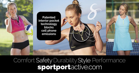 sportport sports bras with emf safe cell phone pocket