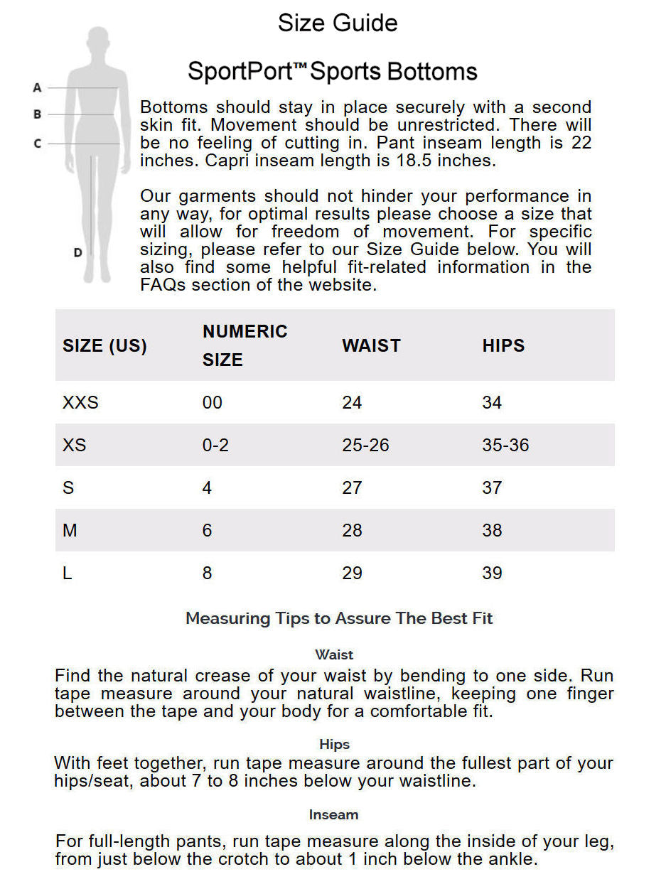 sportport size guide sport bottoms