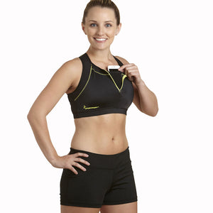 Apex Sports Bra w/ EMF Safety Cell Phone Pocket - blk/blk/ylw