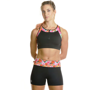 Hibiscus Apex Sports Bra w/ EMF Safety Cell Phone Pocket - blk/hib/blk