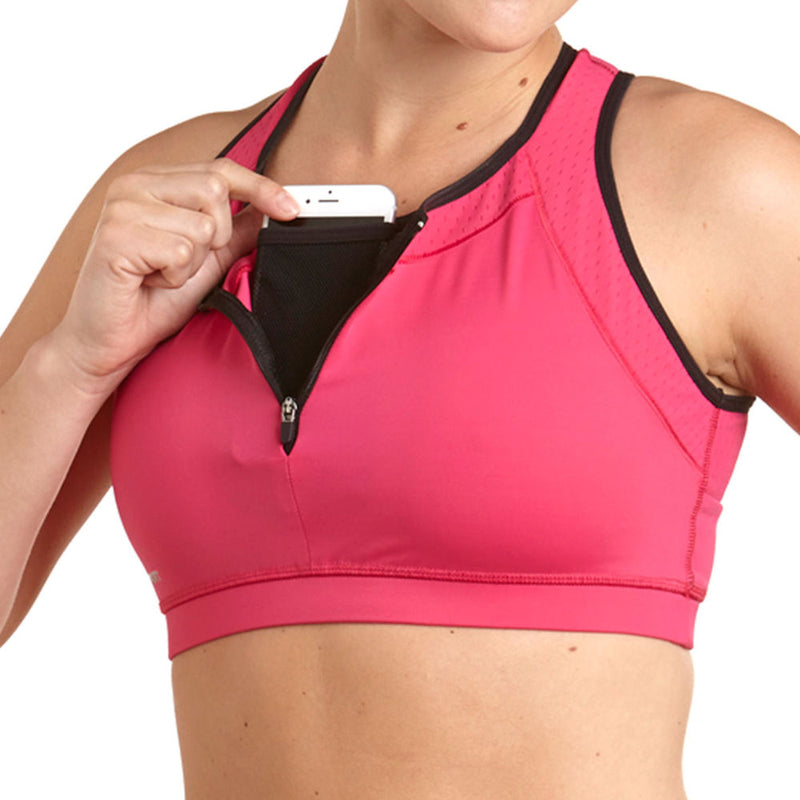 Apex Sports Bra w/ EMF Safety Cell Phone Pocket - pnk/pnk/blk